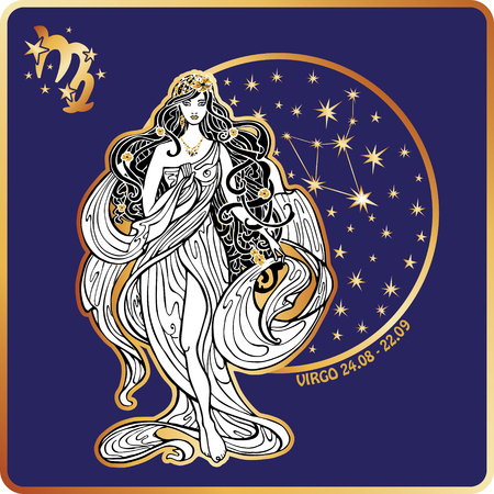 the art of divination: Virgo zodiac sign. Lovely female in Greek chiton dress and flowing hair  standing on circle of horoscope signs with zodiac constellation.White figure on blue background.Graphic Vector Illustration in retro style,art Nouveau