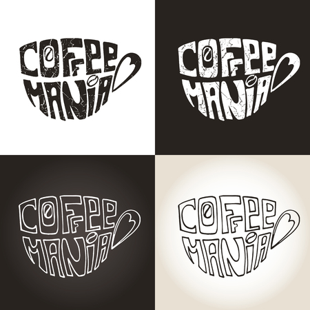 mania: Coffee mug ,Cup with Lettering Inscription  Coffee mania.Hand painting,icon set,grunge backround .Banner  in a door and a passerby.Typographic Vector Illustration Illustration