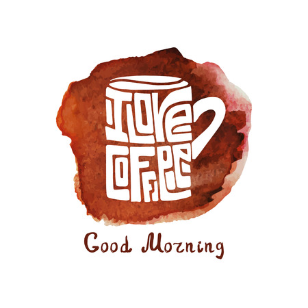 cofee cup: Vector cofee mug ,Cup with lettering and watercolor splash background.Inscription I love cofee.Hand painting,icon.Banner in a door and a passerby.Typographic Illustration