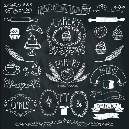 baked goods: Vintage Retro Bakery Badges,Labels.Colored hand sketched doodles and design elements. Bread and loaf, wheat ear, cake icons,border and ribbon. Easy to make.Outline Chalkboard Vector Illustration