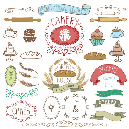 sketched icons: Vintage Retro Bakery Badges,Labels.Colored hand sketched doodles and design elements Bread, loaf, wheat ear, cake icons,border,ribbon. Easy to make.Vector