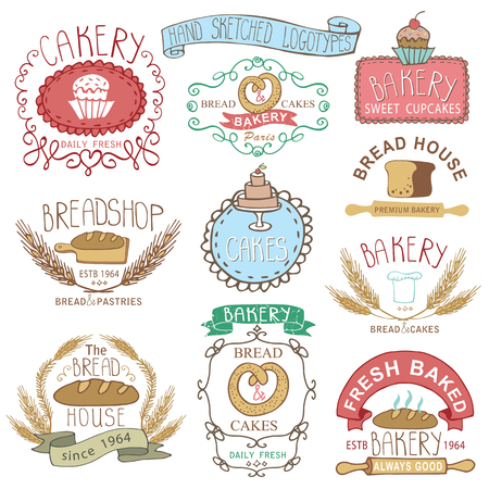 sketched icons: Vintage Retro Bakery Badges,Labels.Colored hand sketched doodles and design elements. Bread, loaf, wheat ear, cake icons. Vector