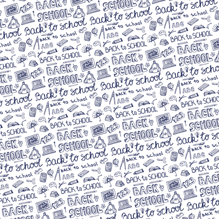 l hand: Back to School Supplies pattern Background.Doodles Sketchy Notebook  with Lettering and Hand Drawing icons.Vector Illustration .Blue Ink Design Elements on white Background.Teachers day
