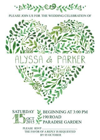 uitnodiging van het huwelijk met waterverf groene takken, bladeren hart, laurels.Decorative hand tekenen bloemen decor, wervelende border.Vector vintage card, design template, retro
