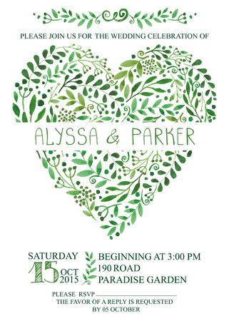 Wedding invitation with watercolor green branches,leaves heart  ,laurels.Decorative hand drawing floral decor,swirling border.Vector vintage  card,design template,retro