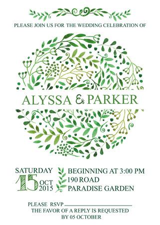 レトロな結婚式招待状のデザイン テンプレート水彩画の緑の枝の葉、月桂樹の花輪。装飾的な手書き花装飾、罫線を旋回します。ベクトル ビンテー  イラスト・ベクター素材