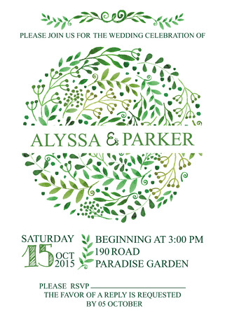 swirling: Retro wedding invitation design template with watercolor green branches,leaves wreath,laurels.Decorative hand drawing floral decor,swirling border.Vector vintage  card Illustration