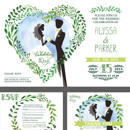 Wedding invitation set.Watercolor green branches with couple bride,groom,sky.Heart shape wreath,laurels leaves.Decorative hand drawing floral decor.Retro Vector,vintage card,RSVP