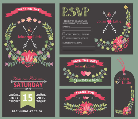 wedding decor: Wedding invitation card floral design template set. Flowers wreath ,ribbon,arrows border in Retro style .For Wedding  thank you,save date,tag,RSVP card.Vintage vector decor.