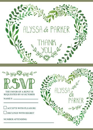 rsvp: Wedding design template set.Watercolor green branches heart wreath.Decorative hand drawing floral ,plant,decor.Vector vintage Thank you,RSVP,invitation card.Natural background