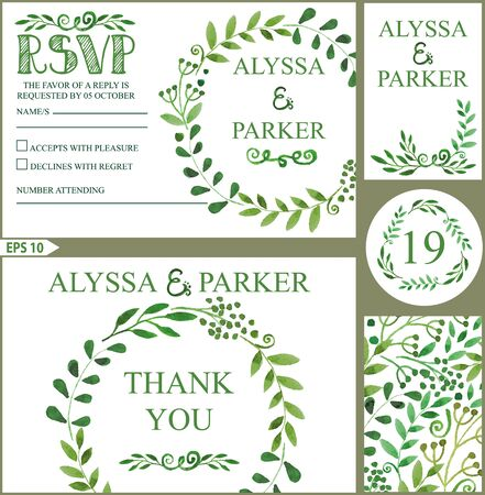 rsvp: Wedding design template set.Watercolor green branches wreath.Decorative hand drawing floral decor,swirling border.Vector vintage Thank you,RSVP,number,invitation card