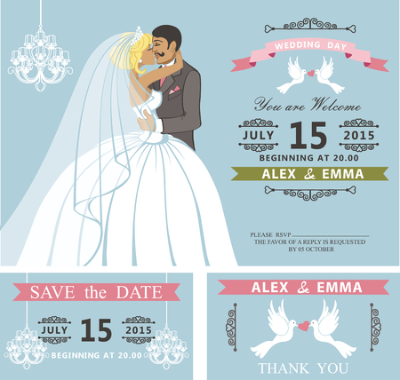 couple date: Wedding invitation with Cartoon kissing couple bride and groom.Retro style.Swirling borders vignettes, ribbon, pigeons,chandelier.Design template set,thank you,save date card.Vintage Vector Illustration. Illustration