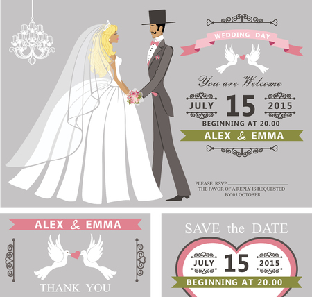 couple date: Wedding invitation with Cartoon couple bride and groom.Retro style.Swirling borders vignettes, ribbon, pigeons,chandelier.Design template set,thank you,save date card.Vintage Vector Illustration. Illustration