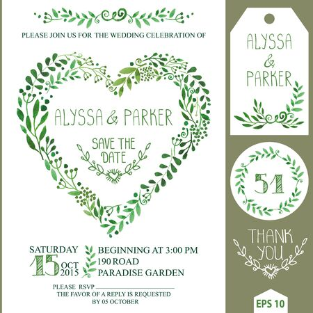 Wedding invitation design template.Watercolor green branches ,leaves , heart shape wreath,laurels.Decorative hand drawing floral decor.Retro Vector,vintage save date card,number,tag