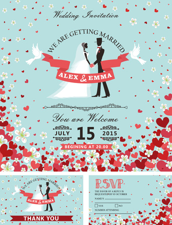 palomas volando: Wedding invitation cards set. Groom ,bride in flat style with vignettes,ribbon,pigeons,Flying hearts and spring flowers. Retro background,design template.Vintage Vector illustration.Spring,summer