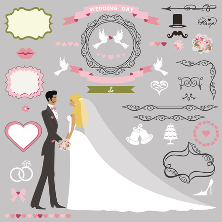 couple date: Wedding invitation card decor set.Cartoon couple bride and groom.Swirling borders ,frames, ribbon,icons,heart,label and flowers.Design template kit,save date card.Vintage Vector Illustration,flat.