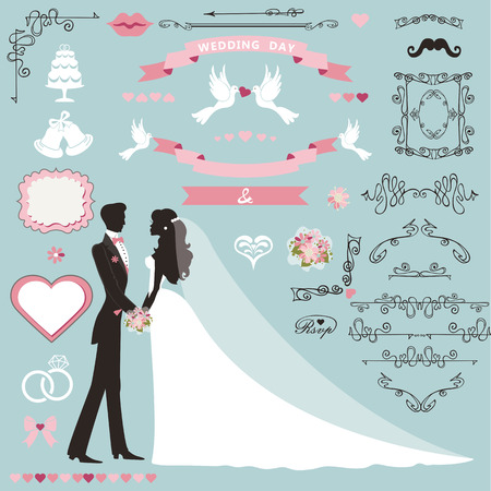 couple date: Wedding invitation flourish decor set.Cartoon couple bride in white dress and groom.Swirling borders, ribbon,icons,heart,label.Design template kit,save date card.Vintage Vector Illustration,flat.