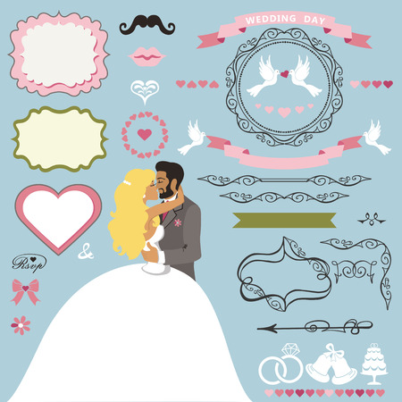 couple date: Wedding invitation card decor elements set.Cartoon kissing couple bride and groom.Swirling borders,ribbon, frame,icons,heart,label.Design template kit,save date card.Vintage Vector Illustration,flat.