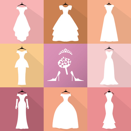 bride dress: Wedding dresses icons. Different styles.Flat Fashion bride Dress made in modern style.White dress ,accessories set ,silhouette.Holiday vector background.Bridal shower composition