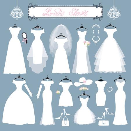 Robes de mariée à différents styles.Fashion mariée robe faite en robe de style.White moderne, accessoires ensemble, la composition de douche background.Bridal silhouette.Holiday vecteur Vecteurs