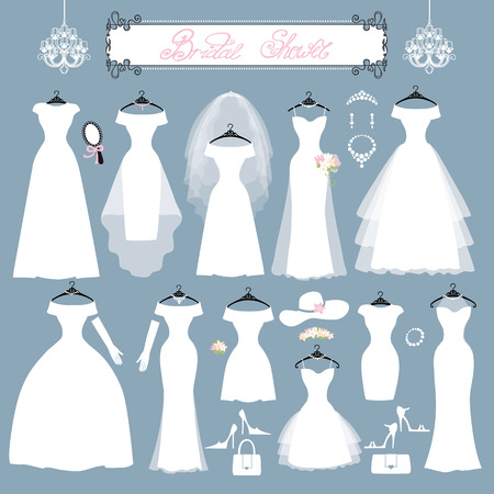 Wedding dresses in Different styles.Fashion bride Dress made in modern style.White dress ,accessories set ,silhouette.Holiday vector background.Bridal shower composition