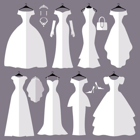 wedding dress: Wedding dresses in Different styles.Flat icons.Fashion bride Dress made in modern style.White dress ,accessories set ,silhouette.Holiday vector background.Bridal shower composition