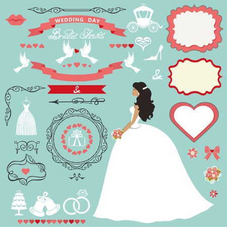 wedding bridal shower invitation card decor setcartoon bride in white dress with swirling borders
