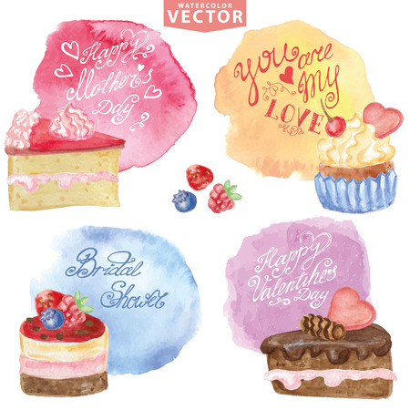 Watercolor set of sweet cakes,cupcakes,steins in Holiday carts set. Vintage cute  poster with lettering, wishes.Hand painted Vector illustration.For  birthday,Valentine day,mother day. Illustration