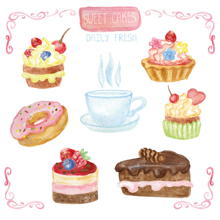 pink cap: Watercolor set of sweet cakes,cupcakes,cap,donut. Vintage cute card,poster with pink decor.Hand painted Vector illustration.For  birthday,wedding,holiday