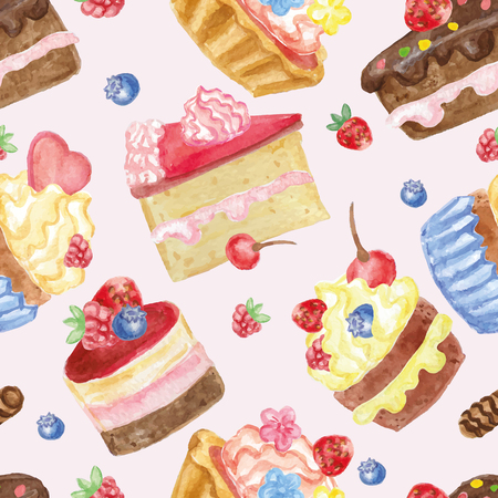 blueberry pie: Watercolor sweet cakes,cupcakes,berries seamless pattern. Vintage cute wallpaper,fabric,backdrop and ornament.Hand painted Vector illustration.For birthday,wedding,holiday background
