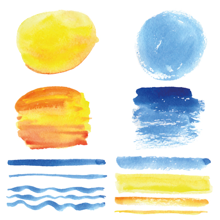 sky sun: Watercolor hand painting stains,spot and wavy brushes set. Light blue,cyan and yellow color.Design template.Vintage vector,summer background.Holiday,vacation artistic texture,sea wave,water,sky,sun