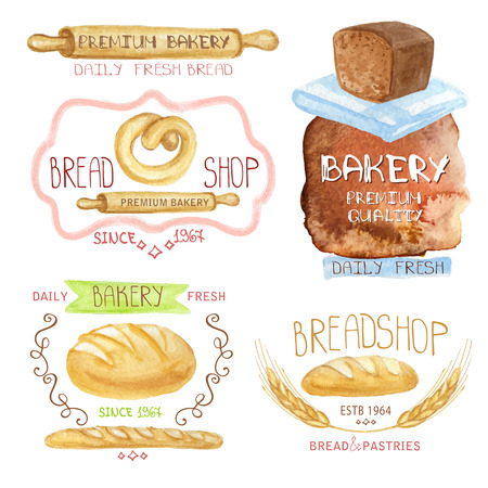 sketched icons: Vintage Retro Bakery Badges,Labels and Watercolor .Colored hand painting doodles ,lettering,sketched design elements ,bread, loaf, wheat ear, icons. Artistic Vector Illustration