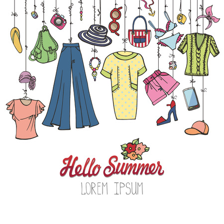 Fashion illustration.Summer vacation women wear.Vector hand drawn fashionable clothes ,dress and accessories hanging on rope.Sketches travel background, scrapbooking,design template
