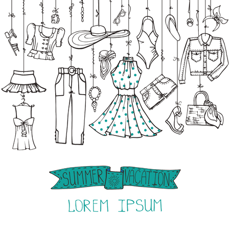 Fashion illustration.Vector hand drawn fashionable women clothes and accessories hanging on rope.Summer vacation wear, linear.Sketches background, scrapbooking,design template.Retro Vetores