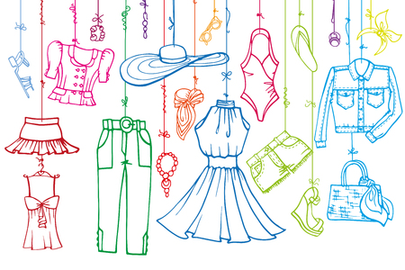 Fashion illustration.Vector hand drawn fashionable women clothes and accessories hanging on rope.Summer vacation wear, linear.Retro Sketches background, scrapbooking,design template.Horizontall.