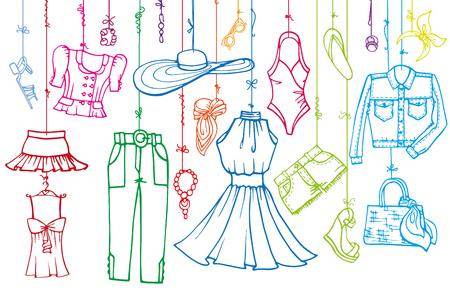 Fashion illustration.Vector handgetekende modieuze vrouwen kleding en accessoires opknoping op rope.Summer vakantie slijtage, linear.Retro Sketches achtergrond, scrapbooking, ontwerp template.Horizontall.