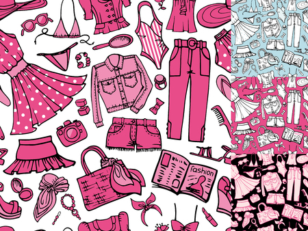 Fashion illustration,seamless pattern set.Vector hand drawn fashionable women  clothes,accessories.Summer vacation wear.Sketches fabric,wallpaper,backdrop,cute background.