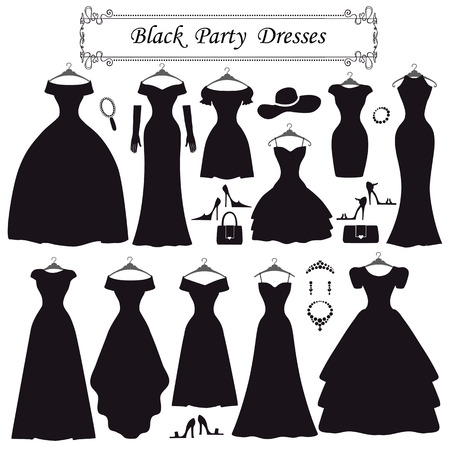 black dress: Fashion dress. Different styles of black party dress Silhouette set. Composition  made in modern flat vector style.Handbag,high heel shoes,jewelry decoration swirling frame.Isolated Vector Illustration Illustration
