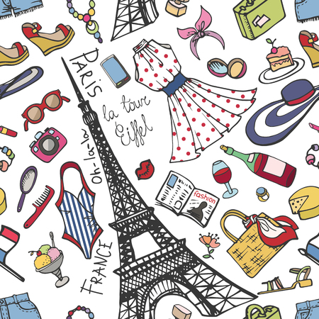 woman accessories: Fashion seamless pattern.Paris France Eiffel tower women  clothes,accessories,symbol.Summer Vector hand drawning background,vacation  Sketches,travel design template,illustration,wallpaper Illustration
