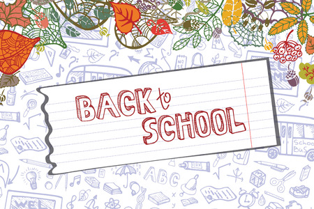 drow: Back to School Supplies Sketchy pattern ,autumn leaves,paper.Doodles  lettering with  Hand Drawn pattern.Vector Illustration  Background