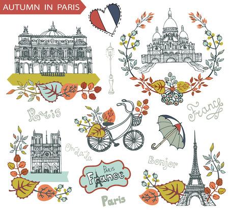 dame: Paris Famous landmarks with autumn leaves wreath,compositions.Vintage doodle sketchy.Notre Dame,Eiffel tower,Sacre Coeur,lettering,bike and umbrella.Fall design template,Vector illustration.