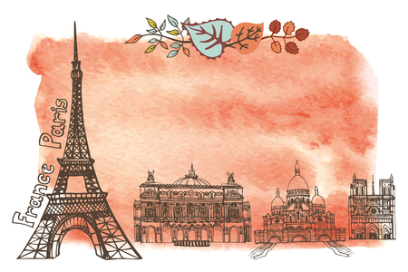 coeur: Paris Famous landmarks with autumn leaves ,watercolor splash background.Vintage doodle  sketchy.Notre Dame,Eiffel tower,Sacre Coeur. Fall design template,artistic Vector illustration.
