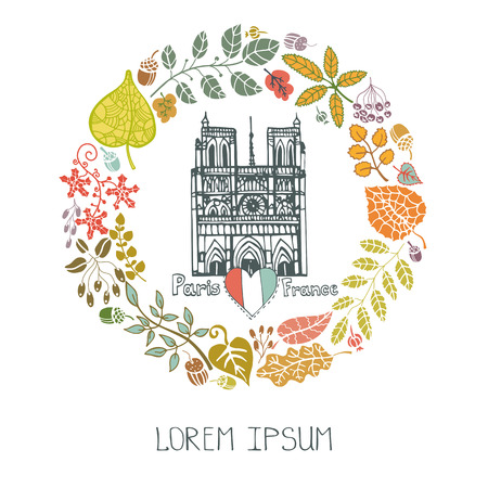 dame: Paris Famous landmarks with autumn leaves wreath,round compositions.Vintage doodle  sketchy.Notre Dame cathedral art.Fall design template,Vector illustration,poster. Illustration