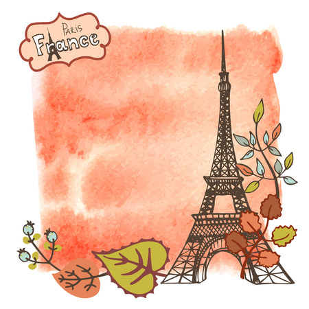 Paris Eiffel tower with autumn leaves ,watercolor splash background.Vintage doodle  sketchy.Famous landmark and label.Fall design template,artistic Vector illustration. Illustration