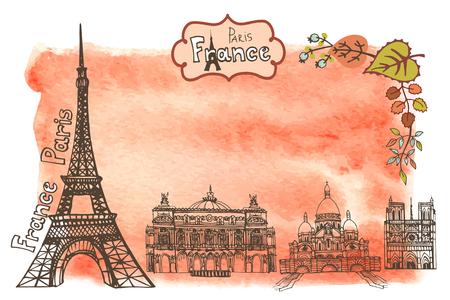 Paris Famous landmarks with autumn leaves ,watercolor splash background.Vintage doodle sketchy.Notre Dame,Eiffel tower,Sacre Coeur. Fall design template,artistic Vector illustration.