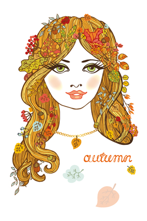 blond hair: Beautiful autumn girl with long blond hair and leaves decoration.Abstract fashion composition.European female,woman.Vector portrait,seasonal poster.Glamour look