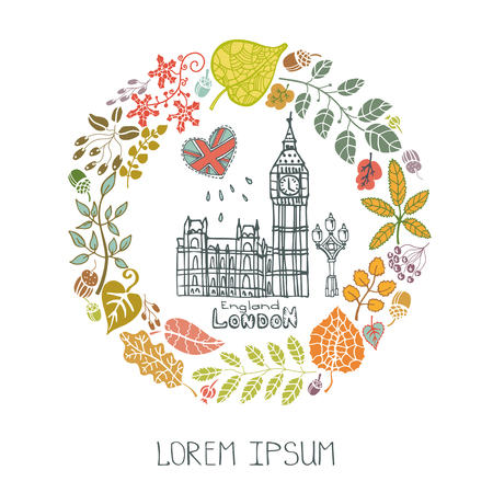 London Famous landmarks with autumn leaves wreath,round compositions.Vintage doodle sketchy.Big Ben capital building art ,symbol.Fall design template,Vector illustration. Illustration