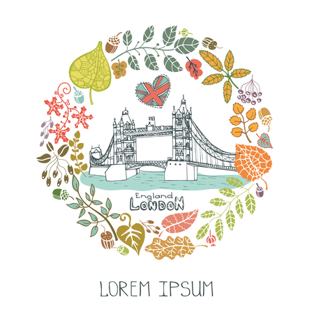 London Famous landmarks with autumn leaves wreath,round compositions.Vintage doodle sketchy.Tower Bridge capital building art .Fall design template,Vector illustration. Illustration