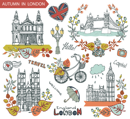 london tower bridge: London Famous landmarks with autumn leaves wreath,compositions.Vintage doodle sketchy.Big Ben,Tower Bridge,St. Peter cathedral,lettering,bike and umbrella.Fall design template,Vector illustration.