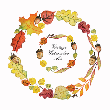 Vintage Watercolor autumn wreath.Colored branches, leaves,acorn set.Hand drawing isolated objects on white background. Autumn harvest illustration. Objects allocated in the path